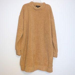 MISGUIDED Camel Teddy Long Sleeve Dress
